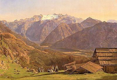 Alte Kunstkarte - Ferdinand Georg Waldmüller - Die Hütteneckeralpe mit Dachstein