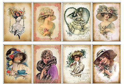 8 Vintage Lady Shabby Chic Hang Tags Scrapbooking Paper Crafts - Shabby Chic Scrapbook Paper