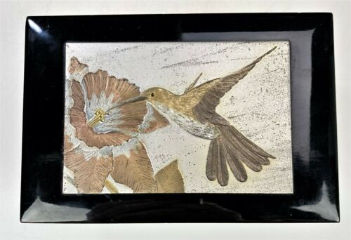 Wind Up Jewelry Music Box Westland Co Japan Black Lacquer Hummingbird