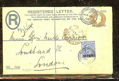 BRITISH LEVANT (P1206B) 1908 RLE 40P+KE 40P CONSTANTINOPLE TO LONDON