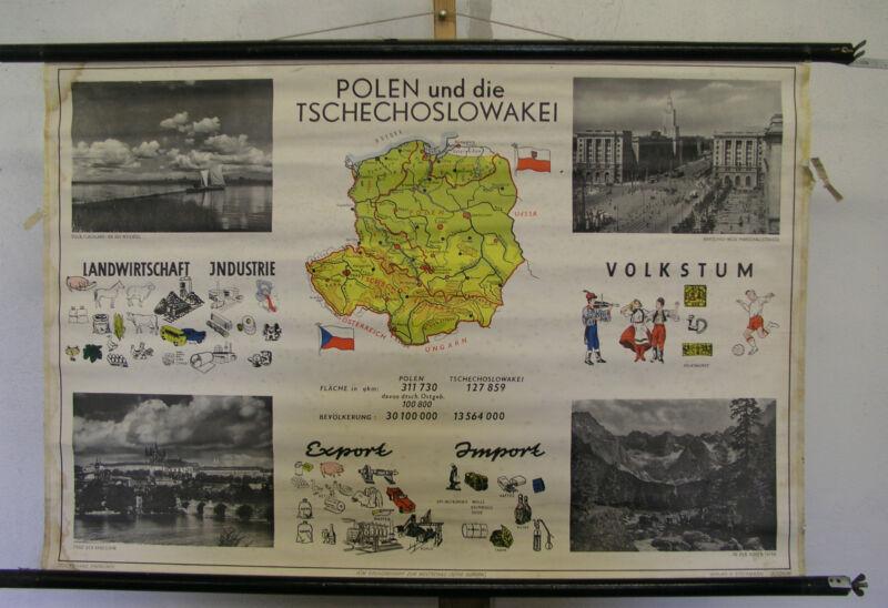 Schulwandkarte Beautiful Old Bohemia Moravia CSR CSSR Poland 99x67 Vintage Map ~
