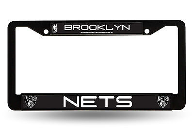 Brooklyn Nets BLACK Metal License Plate Tag Frame Cover Basketball New - Cover New Jersey Nets