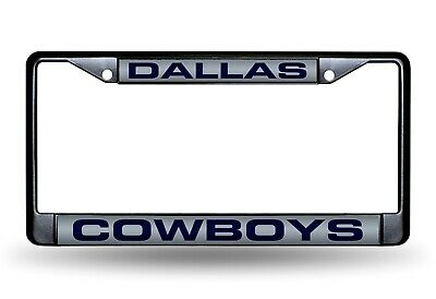 Dallas Cowboys BLACK LASER FRAME Chrome Metal License Plate Cover Tag Football ()
