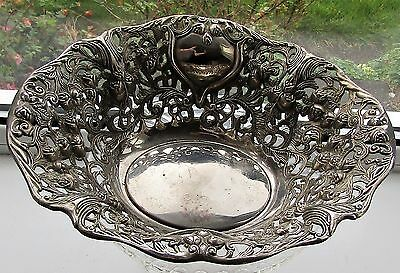 Antique Large Silver Plated Cut Out Bowl Basket Victorian Heavy Plate Ornate