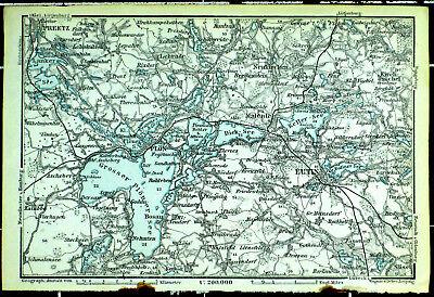 Holsteinische Schweiz (Plön, Eutin), alte farbige Landkarte, datiert 1914
