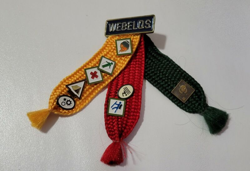 Vintage Webelos Merit Badge Woven Ribbon With Pins Boy Scouts