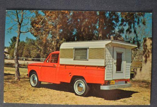 1965-1966 Datsun Pickup Truck Camper Postcard Brochure Nissan Excellent Original