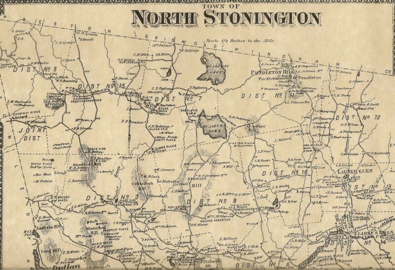 North Stonington Clarks Falls Laurel Glen CT 1868 Maps  Homeowners Names Shown
