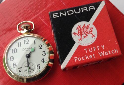 FABULOUS BOXED 1963 ENDURA TUFFY POCKET WATCH GOLD GILT SMITHS MOVEMENT STUNNING