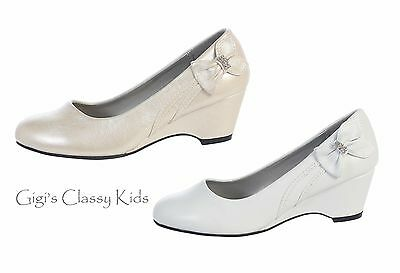 New Girls Kids Youth Dress Shoes Ivory White Wedges Wedding Flower Girl Wedding](Ivory Girls Dress Shoes)
