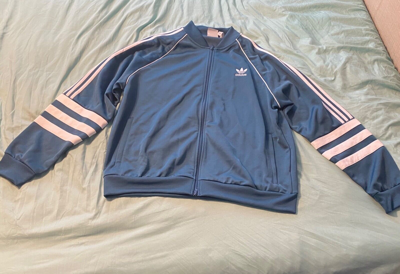 Blue and white adidas zip up jacket size medium