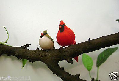 Cardinal Male and Female, imitation, feathered birds, Christmas decoration