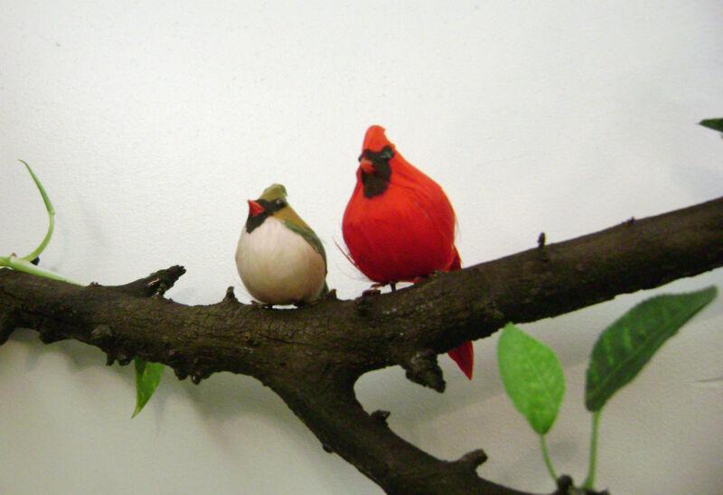 Cardinal Male and Female, imitation, feathered birds, Christmas decoration