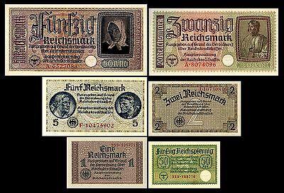 * * * 0,5,1,2,5,20,50 Reichsmark, Reichskreditkasse, 1939 - 1945 * * *