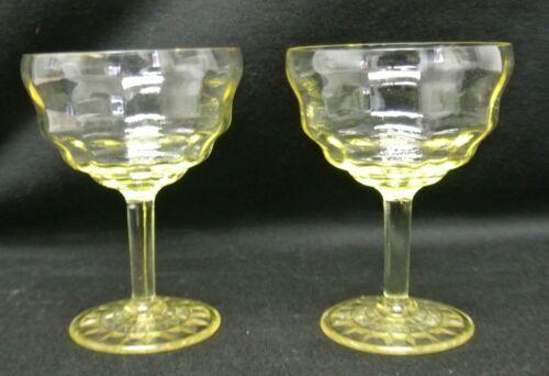 "Set of 2 Anchor Hocking  ""Block Optic"" Topaz Yellow  Sherbet/Champagne Glasses"