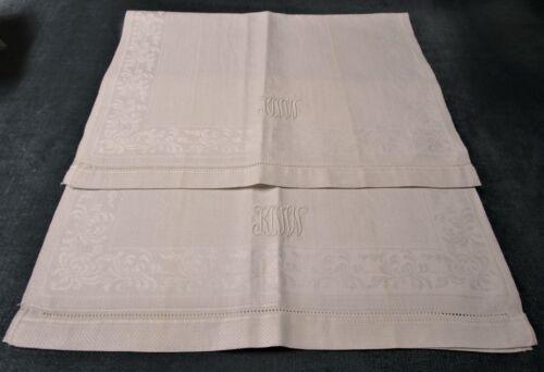 Antique Pair Linen Damask Towels KNW Monogram Florals Diamond Point Texture