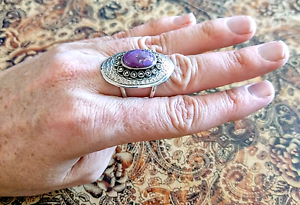 Purple Mojave Turquoise & Marcasite Ring, sz 7.5 US, 925 Silver South Brisbane Brisbane South West Preview