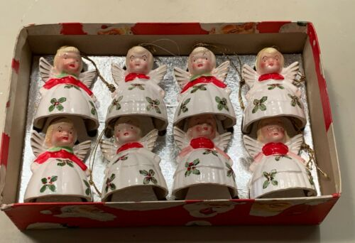 Vintage 1956 KREISS Christmas ANGEL BELL Figurine ORNAMENTS - Lot of 8 Original