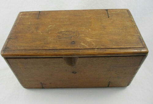 Vintage Oak Sewing Machine Attachments Puzzle Box