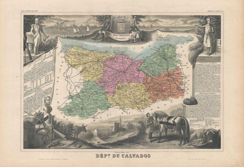 1852 Levasseur Map of the Department Du Calvados, France