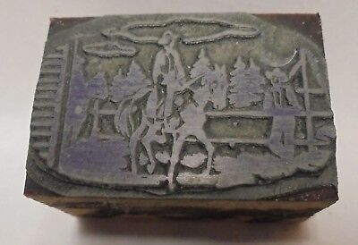 Vintage Letterpress Printing Block Cut Cowboys Riding Horses