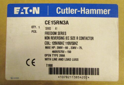 EATON CUTLER HAMMER CE15RN3A 110/120V 200Amp Size R IEC Contactor Freedom Series