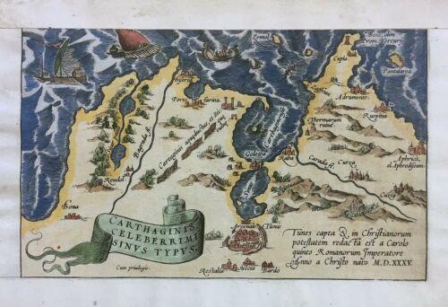 ORTELIUS 1612 Carthage Antique Map - Carthaginis Celeberrimi Sinus Typus Italy