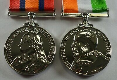 King and Queen's South Africa War Medal Replicas in Silver. Victoria, Edward VII