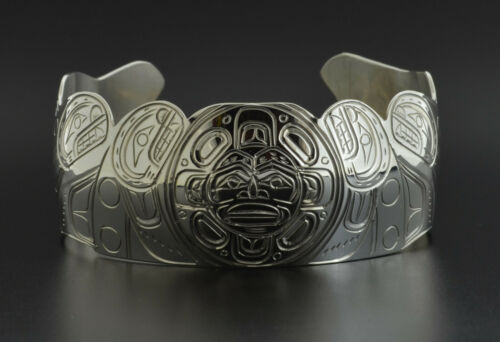 Pod of Orca Whales and Moon Native Sterling Silver Cuff Bracelet Unisex