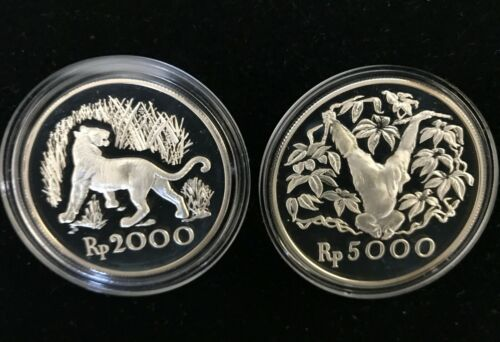 1974 Indonesia 2000 & 5000 Rupiah 2 Pc. Conservation Proof Set                m2