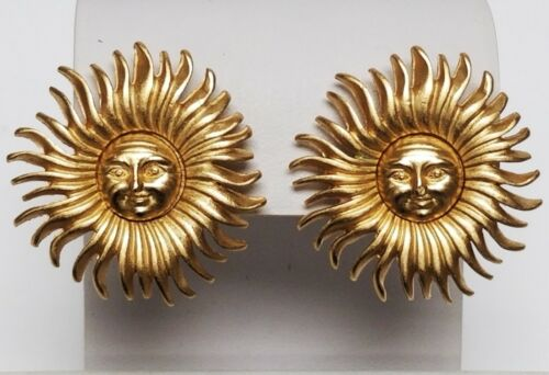 Vintage Signed MONET Celestial Sun Face Brushed Gold Tone Clip Earrings 1 1/4""