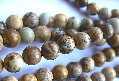 """No P&P Natural Stone Picture Jasper 6mm Rounds 55 to 60  beads (14.5"""" strand)"""
