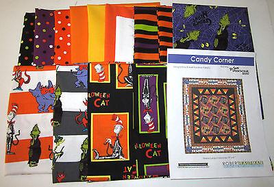 DR SEUSS Spooktacular CANDY CORNER QUILT KIT 100% cotton fabric GRINCH HALLOWEEN (Dr Seuss Halloween)