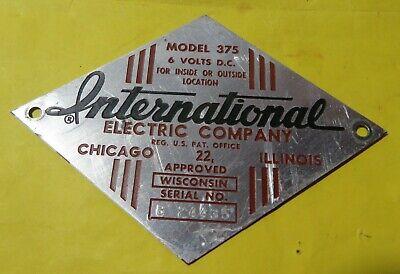 Vintage International Electric Fencer Model 375 Tag Emblem Farm Ranch