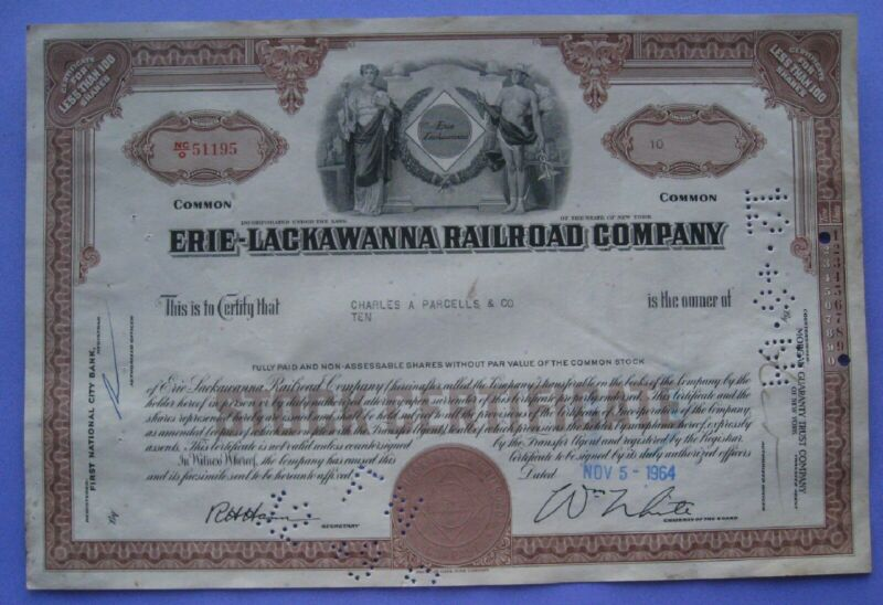 Stock Certificate For the Erie-Lackawanna Railroad Company 1964