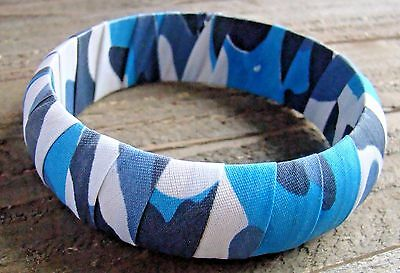 Blue Camouflage Bracelet Camo Print Chunky Wide Bangle Cowgirl Fashion - Camouflage Jewelry