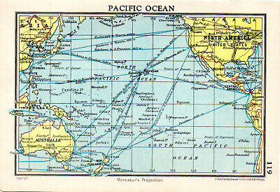Map Of Pacific Ocean John Bartholomew Vintage 1951