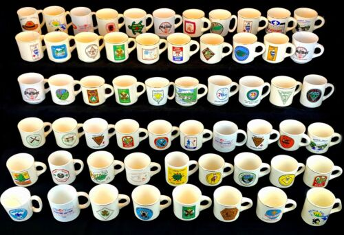 Vintage Boy Scout Mug Collection Lot of 56 Camp, Lodge, Advertising 1960s-80s