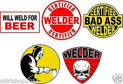 Lot of (5) Welder Helmet Stickers decal Art Wall Vinyl Sticker Decals Decor ()