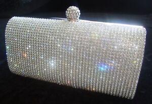 New Silver Diamante Diamond Crystal Evening bag Clutch Purse Party Prom Wedding