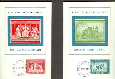 Vatican City Sc#395-6: Nicholas de Cues on 2 Maxi Cards, used for sale  Shipping to India
