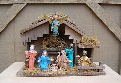 """Christmas Nativity Wood Creche Holy Family Wise Men Animals Angel 10"""" tall 9 pc"""