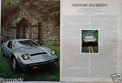 """""""Highway Snobbery"""" Maserati Merak 1979 Magazine Write-Up and Photo..."""