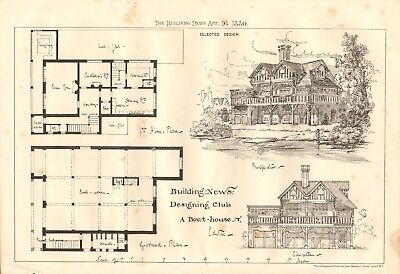 1880  ANTIQUE PRINT- ARCHITECTURE -DESIGN FOR A BOAT HOUSE