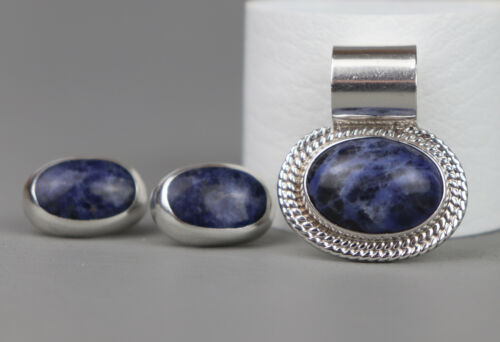TAXCO MEXICO STERLING SILVER BLUE SODALITE LARGE BALE PENDANT EARRINGS SET
