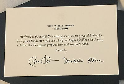 WHITE HOUSE BABY GREETINGS CARD PRESIDENT OBAMA  MICHELLE SIGNED EAGLE SEAL