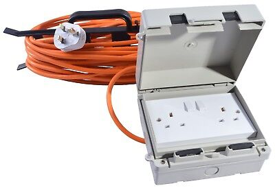13 AMP Weatherproof Mains Outdoor Extension Lead IP65 Orange 2 Socket 5m to 25m