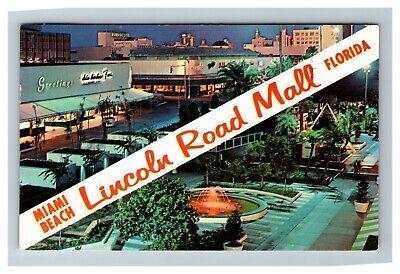 Miami Beach FL Lincoln Road Shopping Mall c1962 Postcard (Lincoln Shopping Mall)
