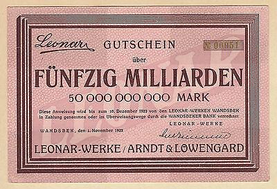 Wandsbek -Leonar-Werke- 50 Milliarden Mark vom 1.11.1923