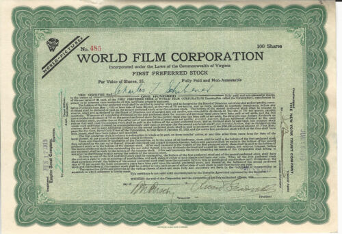 1919 NEW JERSEY World Film Corp Stock Certificate Early Silent Films Fort Lee